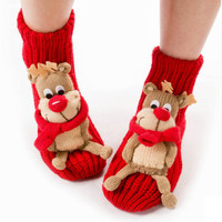 Kawaii Reindeer Pop Up Winter Socks for Women,Slip-Free,Christmas Gift,Women Socks,Lace Socks,Heel Socks,Leggings,Leg Warmers,Vegan Knitting