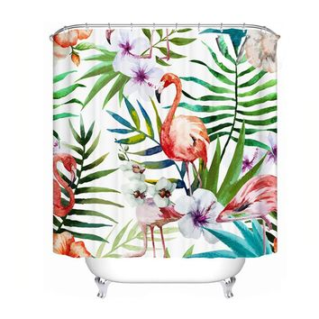 Fabric Polyester Plant Flamingo Deer paint waterproof Seascape shower curtain thicken shower curtain bathroom curtains