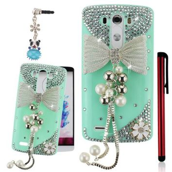 Ancerson Silvery Bow Bowknot White Pearls Pendant Tassel White Daisy 3D Handmade Luxury Sparkly Shining Glitter Crystal Diamond Rhinestones Protective PC Hard Back Case Cover for LG G3 D855 Free with a Red Stylus Touchscreen Pen, a 3.5mm Universal Crystal