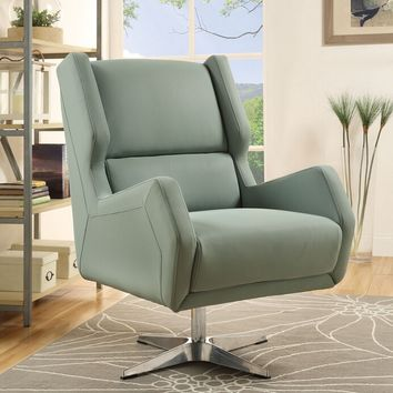 Acme 59736 Eudora gray stone leather gel retro mid century modern swivel accent chair