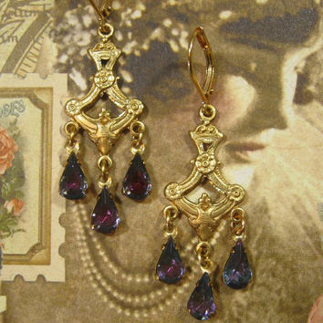 Downton Abbey Jewelry - Lady Cora Chandelier Earrings - Edwardian Jewelry - Great Gatsby Jewelry - 1920s Earrings - Titanic Jewelry