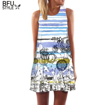 3D Vintage Print Summer Dress Bohemian Beach Dress Summer Sundresses Women Dresses Dashiki Hippie Boho Vestidos Large Size