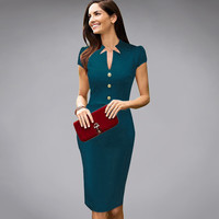 Dress Tunic Stretch Bodycon Sheath Pencil  Vintage Women's Casual Dress