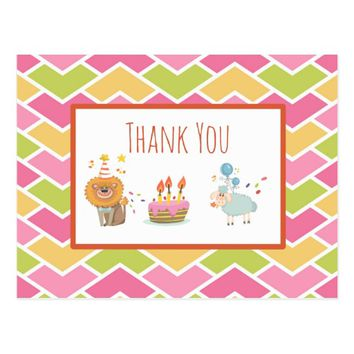 Birthday Cake with Party Lion and Sheep Thank You Postcard