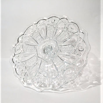 Glass Cake Stand, McKee Quintec Pressed Glass Cane Button Pattern Cake Plate