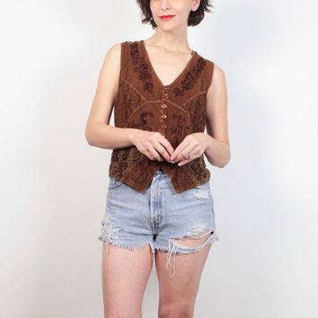 Vintage 90s Shirt Brown Red Embroidered Hippie Tunic Vest Style Boho Festival Top 1990s Embroidery Floral Bohemian Blouse M Medium L Large