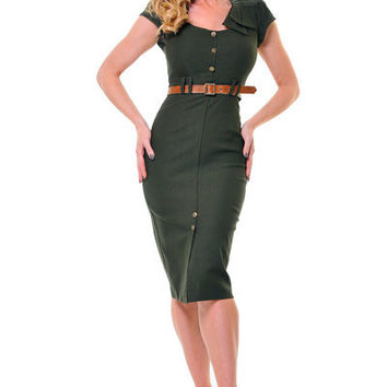 STOP STARING 1940's Style Army Green Sexy Cadet Wiggle Dress - Unique Vintage - Cocktail, Evening, Pinup Dresses