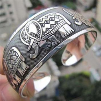 Cool Vintage Boho Style Elephant Tibetan Tibet Silver Plated Totem Bracelets Elegant Round Metal Cuff Bangles Women Jewelry
