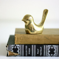Brass Bird  Vintage Paperweight by WiseApple on Etsy