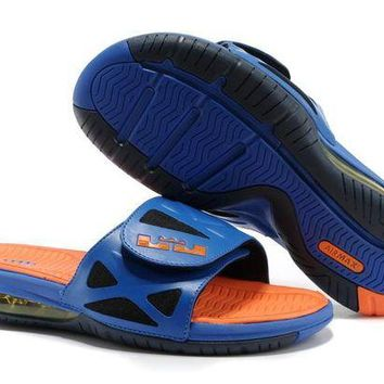 ONETOW Nike Air LeBron Slide 78251460 Blue/Orange Casual Sandals Slipper Shoes Size US 7-11