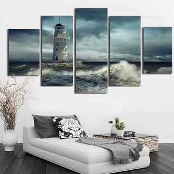 5 Panel Ocean Lighthouse Canvas Panel Print Sea Ocean Seascape Wall Art Panel