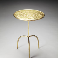 Industrial Chic Founders Brass Finished Pedestal Table