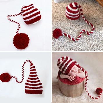 Baby knitting Long Tails Christmas Hat Newborn Photography Props Red White Stripe Crochet Baby Hats Baby Props For Photography