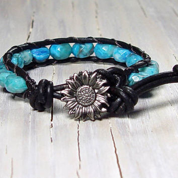 Crazy Lace Agate, Leather Wrap Bracelet, Beachy, Boho, Chic, Larimar Blue, Gifts for Her, Mothers Day, Gifts for Mom, Single Wrap Bracelet