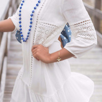 Boardwalk Babe White Peasant Dress