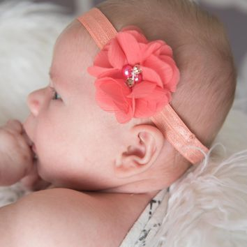 Coral Elastic Headband for Baby Girls