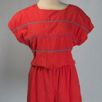 Vintage 80s Red New Wave Romper Valentine's Day Cutie!