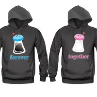 Salt and Pepper Forever Together Unisex Couple Matching Hoodies