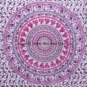White Tapestry Tapestries, Psychedelic Elephant Mandala Tapestry Wall Hanging, Indian Bedspread Bohemian Room Décor, Dorm Bedding Tapestry