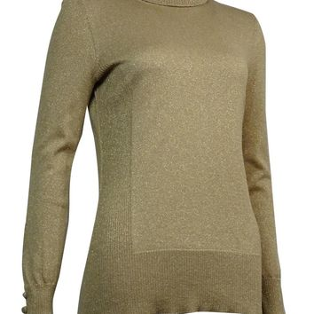 Cable & Gauge Women's Button-Trim Metallic Turtleneck Sweater