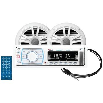 Boss Audio Systems MCK1309WB.6 Marine Single-DIN In-Dash Mechless AM/FM Receiver with Bluetooth(R), 2 Speakers & Antenna