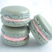 Edible Favor French Macaron 12 Silver Shimmer Macaroons Gift Splendid Sweet
