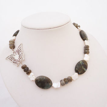 Labrodorite and Pearl Necklace, Butterfly Necklace, One of a Kind Gemstone Necklace
