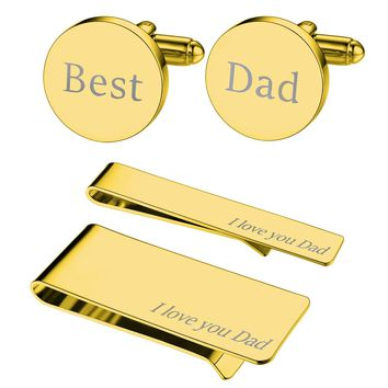 BodyJ4You 4PC Cufflinks Tie Bar Money Clip Button Shirt Love Best Dad Father Day Gift Box Set