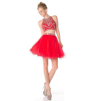 Cinderella Divine 975 Two Piece Illusion Beaded Crop Top Red Tulle Homecoming Dress