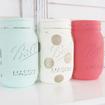 Shabby Chic, Baby Shower Centerpiece, Mason Jars, Distressed, Painted Jars, Table Decor, Rustic Decor, Party Centerpiece, Set of 3 Jars