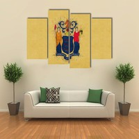 Flag Of New Jersey State Multi Panel Canvas Wall Art