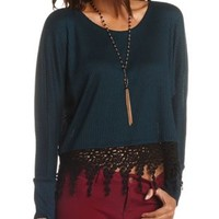 Lace Trim Boxy Ribbed Top by Charlotte Russe - Shaded Spruce