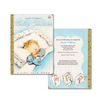 Digital DIY Little Golden Book vintage baby book shower Invitation / boy / editable PDF/ customize it yourself / printable