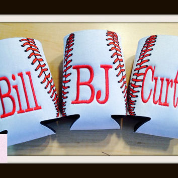 Monogrammed / Personalized Baseball Pattern  Can Coozie  Insulator / Cooler in  with embroidered Letter(s) of your Choice