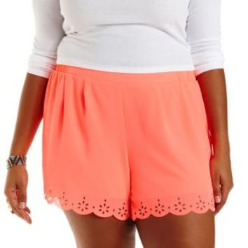 Plus Size Olive Neon Laser-Cut Scalloped Shorts by Charlotte Russe
