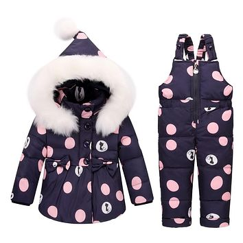 Baby Girls clothing Sets Warm Children Down Jackets Kids Snowsuit baby Ski suit Girl's down Jackets Outerwear Coat+Pants