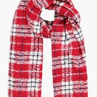 Harriet Brushed Knit Check Scarf | Boohoo