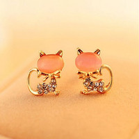 3 pairs/set£¨pink/green/white£©fashion Cute Kitten Temperament Rhinestone Sweet Opal Cat Bowknot Stud Earrings Jewelry for women = 1668826180