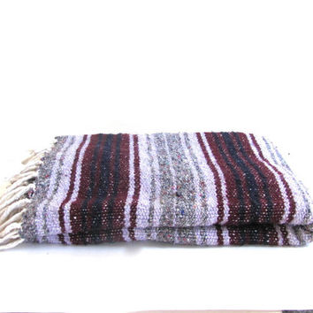 Vintage purple Mexican Striped Ethnic Lap Blanket