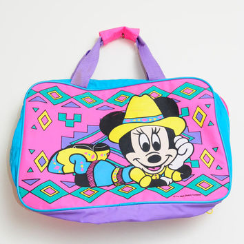 Amazing Vintage 80s/90s Bright and Colorful Aztec South Western Minnie Mouse Bag/Purse/Tote