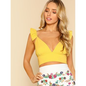 Yellow Plunging Crop Top With Ruffle Strap
