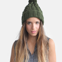 Hand Knit Hat in Deep Green, Khaki Green Beanie, Womens Winter Hat, Custom Color Beanie, Warm Wool Hat, Olive Green Beanie, Aran Knit Hat