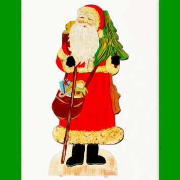 Vintage Christmas Folk Art Santa