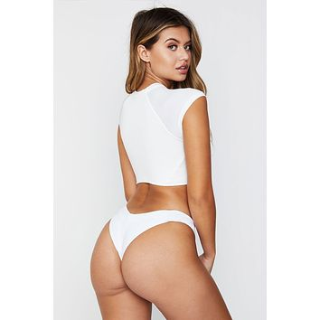 Max High Cut Thong Bikini Bottom - White