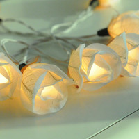 20 white  rose flower string light decoration wedding party decor bed room light night light
