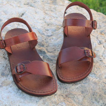 Jesus sandal Flat Biblical handmade brown leather for men camel sandal