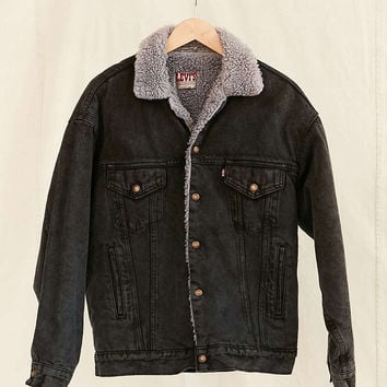 Vintage Levis Black Sherpa Jacket - Urban Outfitters