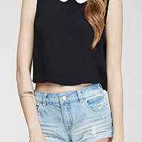 Black Peter Pan Collar Sleeveless Cropped Top