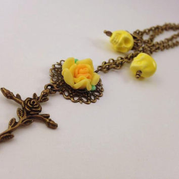 Cross and Rose Necklace - Cross and Skull - Rose and Skull - Gothic Necklace - Yellow and Brass - Brass Chain Necklace - Gothic Jewelry