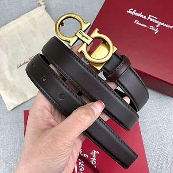 Ferragamo Hot Sale Women Men Smooth Buckle Belt Leather Belt Coffee